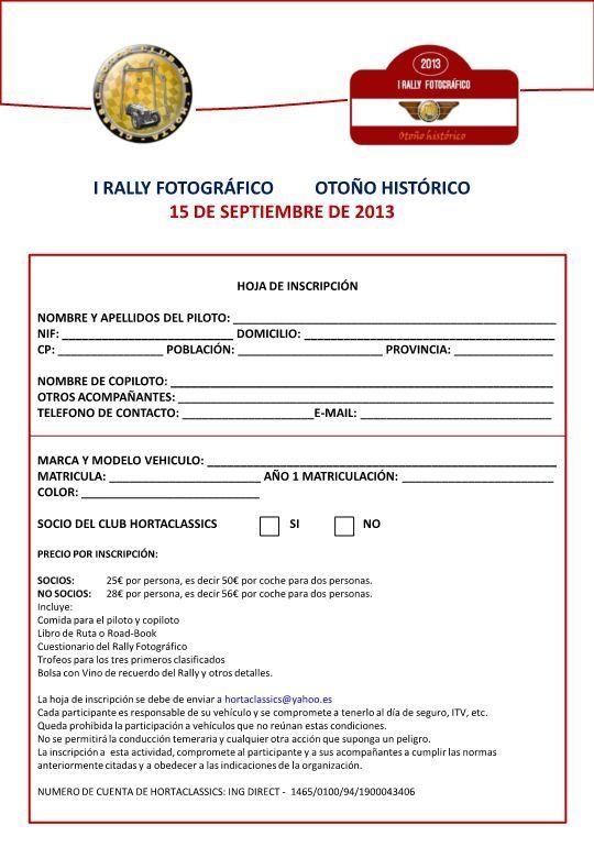 HOJA DE INSCRIPCIÓN RALLY FOTOGRÁFICO OTOÑO HISTÓRICO 2013.